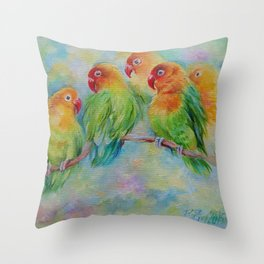 LOVE BIRDS Wildlife Tropical Parrots painting Pastel colors decor for bird lover Throw Pillow