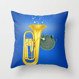 Puffer Fish Playing Tuba Throw Pillow