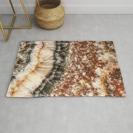 Agate Crystal VI // Red Gray Black Yellow Orange Marbled Diamond Luxury Gemstone Rug