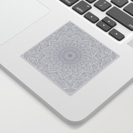 Most Detailed Mandala! Cool Gray White Color Intricate Detail Ethnic Mandalas Zentangle Maze Pattern Sticker
