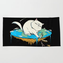 Flat Earth Cat Beach Towel