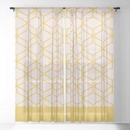 Geometric Honeycomb Lattice in Mustard Yellow and Pale Blush Pink. Modern Clean Minimalist Sheer Curtain