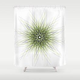 Minimalist green geometric lines mandala star Shower Curtain