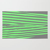 stripes Area & Throw Rugs featuring Green & Gray Stripes by 2sweet4words Designs