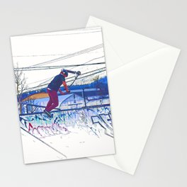 Spinning the Deck - Trick Scooter Sports Art Stationery Cards