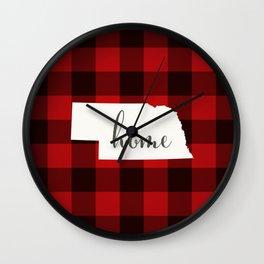 Nebraska is Home - Buffalo Check Plaid Wall Clock