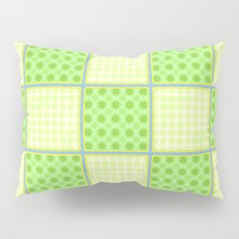 Green Checks - Green Polka Dot and Plain Yellow Pillow Sham