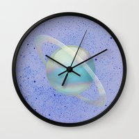 holographic Wall Clocks featuring Holographic Saturn by trendmae