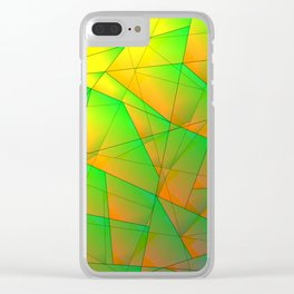 Abstract pattern of green and overlapping yellow triangles and irregularly shaped lines. Clear iPhone Case