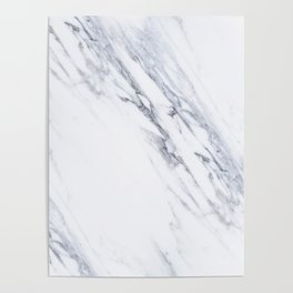 White Marble with Classic Black Veins Poster