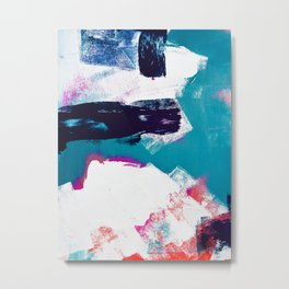 On Holiday: A vibrant minimal abstract painting in blue white and pink by Alyssa Hamilton Art  Metal Print