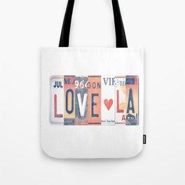 LOVE LA License Plate Art Tote Bag