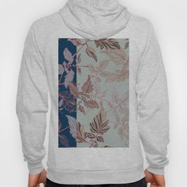 Tomatoes leaves in coral and blue Pantone palette Hoody