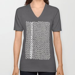 Grey Knit With White Stripe Unisex V-Neck
