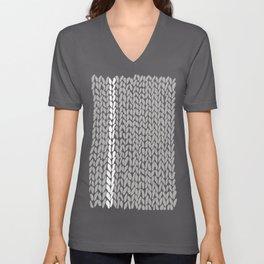 Grey Knit With White Stripe Unisex V-Neck