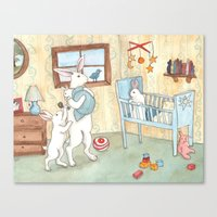 nursery Canvas Prints featuring Nursery by Bluedogrose