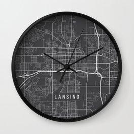 Lansing Map, USA - Gray Wall Clock