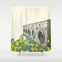 waterfall Shower Curtains featuring Waterfall by Cassia Beck