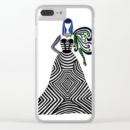 Abstract geometric quirky lady Clear iPhone Case