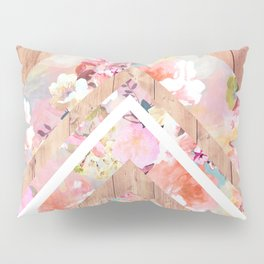 Vintage floral watercolor rustic brown wood geometric triangles Pillow Sham