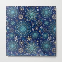 Blue gold snowflakes  Metal Print
