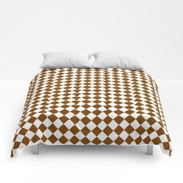 Small Diamonds - White and Chocolate Brown Comforters