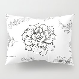 Black and White Floral Pattern With Transparent Background Pillow Sham