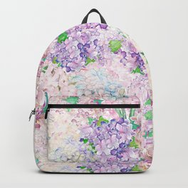 Pastel Purple and blue Lilac & Hydrangea - Flower Design Backpack