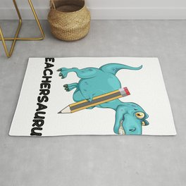 Teachersaurus Dinosaur T-Rex Teacher Gifts Rug
