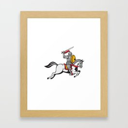 Knight Sword Shield Steed Attacking Cartoon Framed Art Print