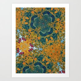 Orange and Green Flora Art Print