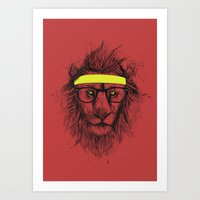 hipster lion Art Prints featuring hipster lion (red) by Balazs Solti