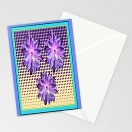 Exotic Lilac-Purple-BlueTropical Flowers yellow Optic Art Stationery Cards