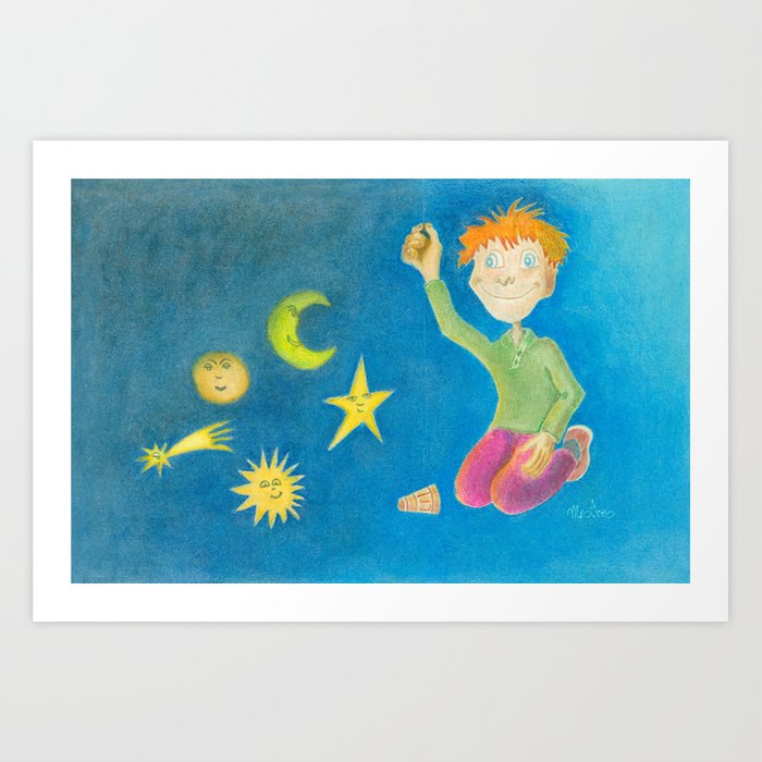 Child playing with his toys Art Print