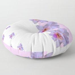 TROPICAL PURPLE CATTLEYA ORCHIDS WHITE-PINK ART Floor Pillow