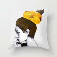 bee Throw Pillows featuring The Bee Hive  by Jenny Liz Rome