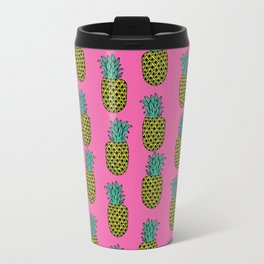 Pineapple stripes pattern by andrea lauren pink minimal fruit summer trendy print design Travel Mug