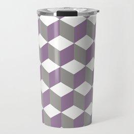 Diamond Repeating Pattern In Crocus Purple and Grey Travel Mug