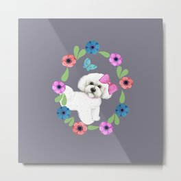 Bichon Frise Dog with butterfly and flowers Metal Print