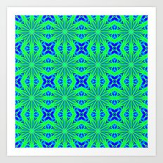 Blue Green Flower Cross Pattern Art Print