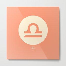 Libra Symbol Pink Metal Print