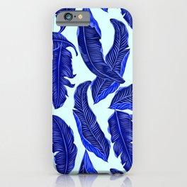 Banana leaves tropical leaves blue white #homedecor iPhone Case