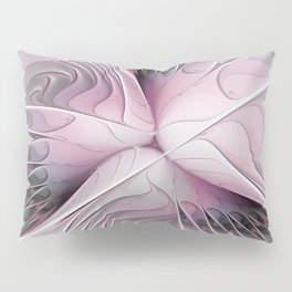Fantasy Flower, Pink And Gray Fractal Art Pillow Sham