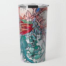 Painterly Vase of Proteas, Wattles, Banksias and Eucayptus on Blue Travel Mug