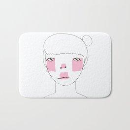 Line Drawing of Girl with Bun  Bath Mat