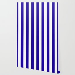 Neon blue - solid color - white vertical lines pattern Wallpaper