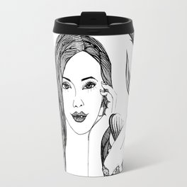 Woman with fishes - Ink artwork Travel Mug