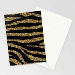 glitter zebra gold Stationery Cards
