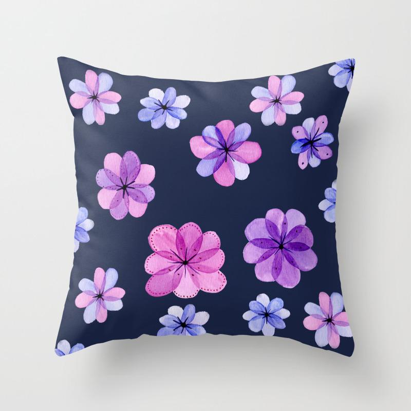 Translucent Watercolor Flowers With Dark Background Throw Pillow By Landandseaartstudio Society6