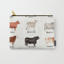 Beef and Dairy Cow Breeds Watercolor Carry-All Pouch